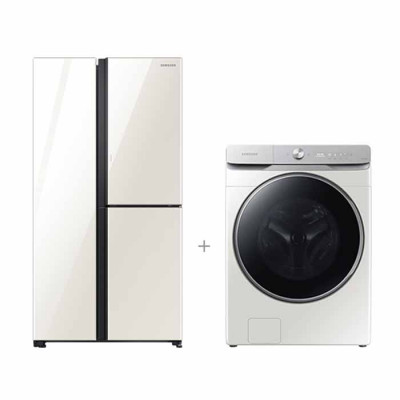 삼성전자 결합할인 양문형 3도어 846L 냉장고 화이트 + AI 세탁기 23Kg 그레이지